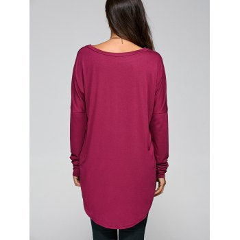 Drop Shoulder High Low Tunic T-Shirt - PURPLISH RED PURPLISH RED