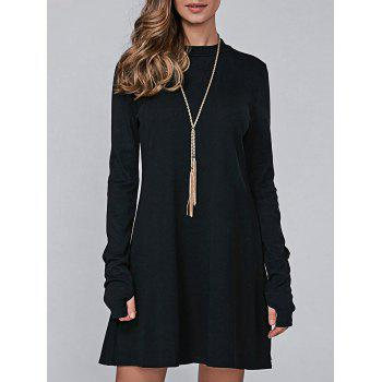 High Neck Long Sleeve Casual Jumper Dress - BLACK M