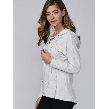 Long Sleeve Hooded Lace-Up Pocket T-Shirt - GRAY M