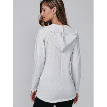 Long Sleeve Hooded Lace-Up Pocket T-Shirt - GRAY S