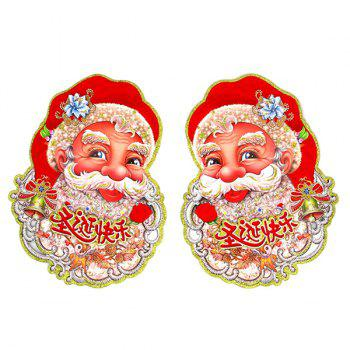 2PCS Christmas Party Decoration Santa Claus Wall Stickers Supplies - RED RED