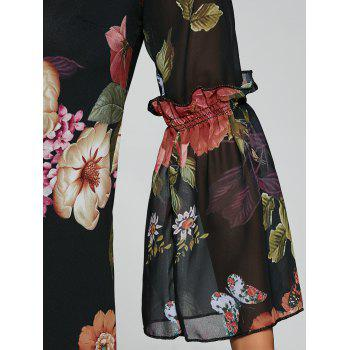Bell Sleeves Floral Print Laciness Dress - XL XL