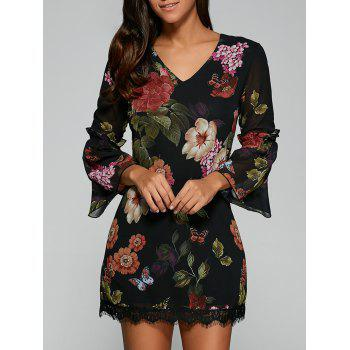 Bell Sleeves Floral Laciness Dress