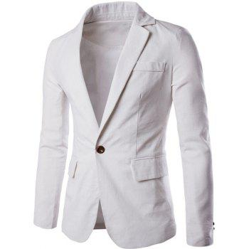 Stand Collar One Button Slimming Cotton+Linen Blazer