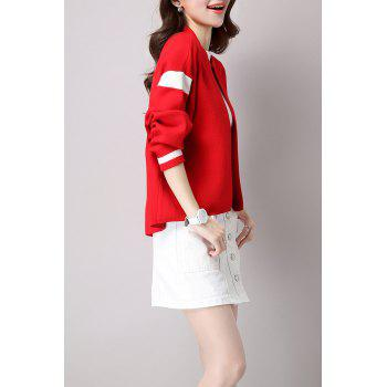 Knitted Open Front Bomber Jacket - RED ONE SIZE