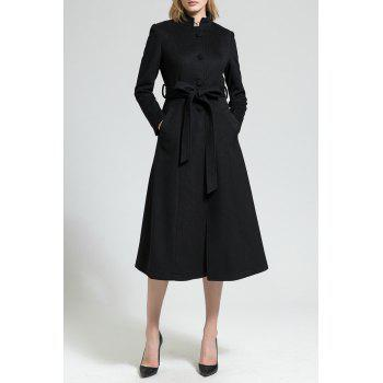 Skirted Wool Blend Coat with Belt