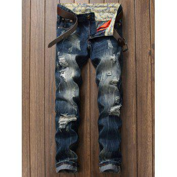 Zipper Fly Scratched Ripped Jeans