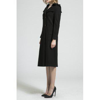 Double Breasted A Line Long Coat - BLACK S