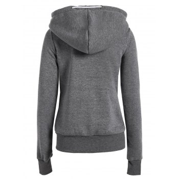 Casual Style Solid Color Long Sleeves Women's Hoodie - DEEP GRAY XL