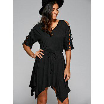 Lace-Up Asymmetric Belted Dress - BLACK S