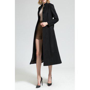Skirted Wool Blend Coat with Belt - BLACK S