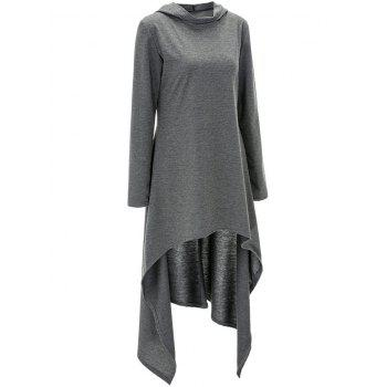 High Low Hooded Dress with Long Sleeves - GRAY 3XL