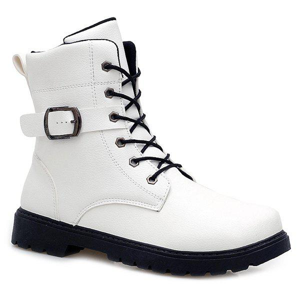 Tie Up Buckle Strap Zipper Boots - WHITE 44