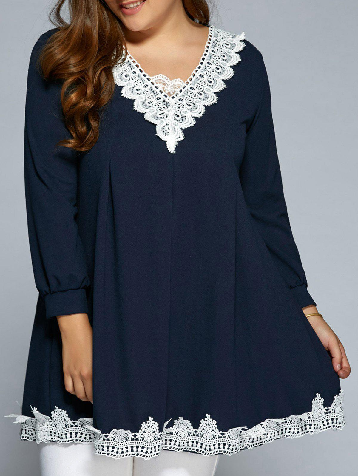 Baggy Lace Spliced Blouse - PURPLISH BLUE M