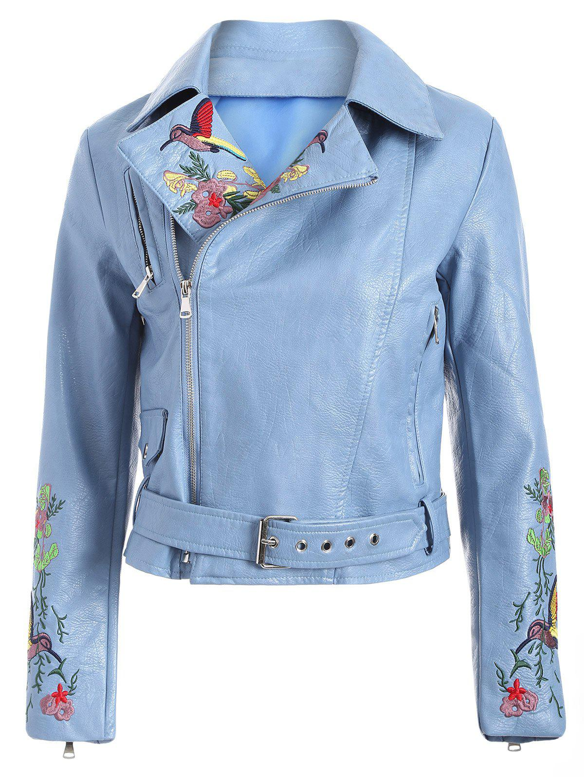 Fashion Zipper Fly Bird Embroidered Faux Leather Jacket - LIGHT BLUE S