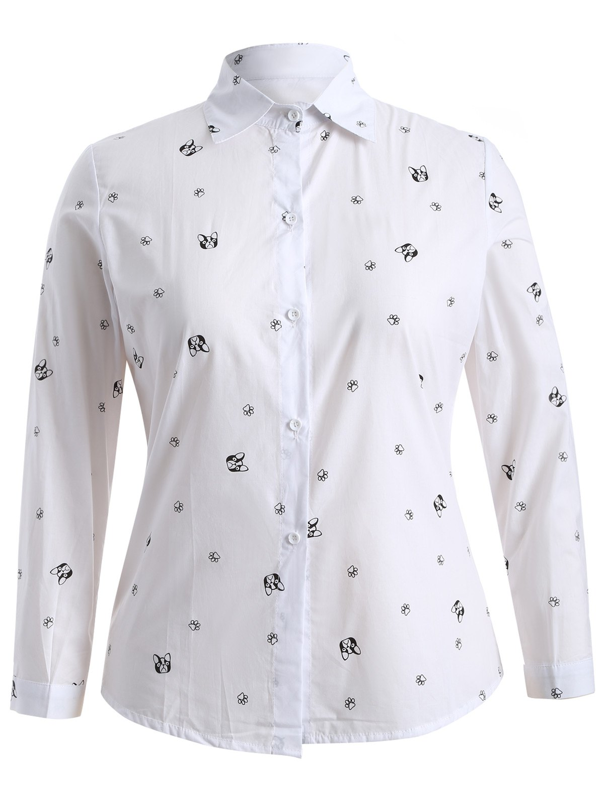 Plus Size Puppy Print Buttoned Shirt - WHITE 2XL