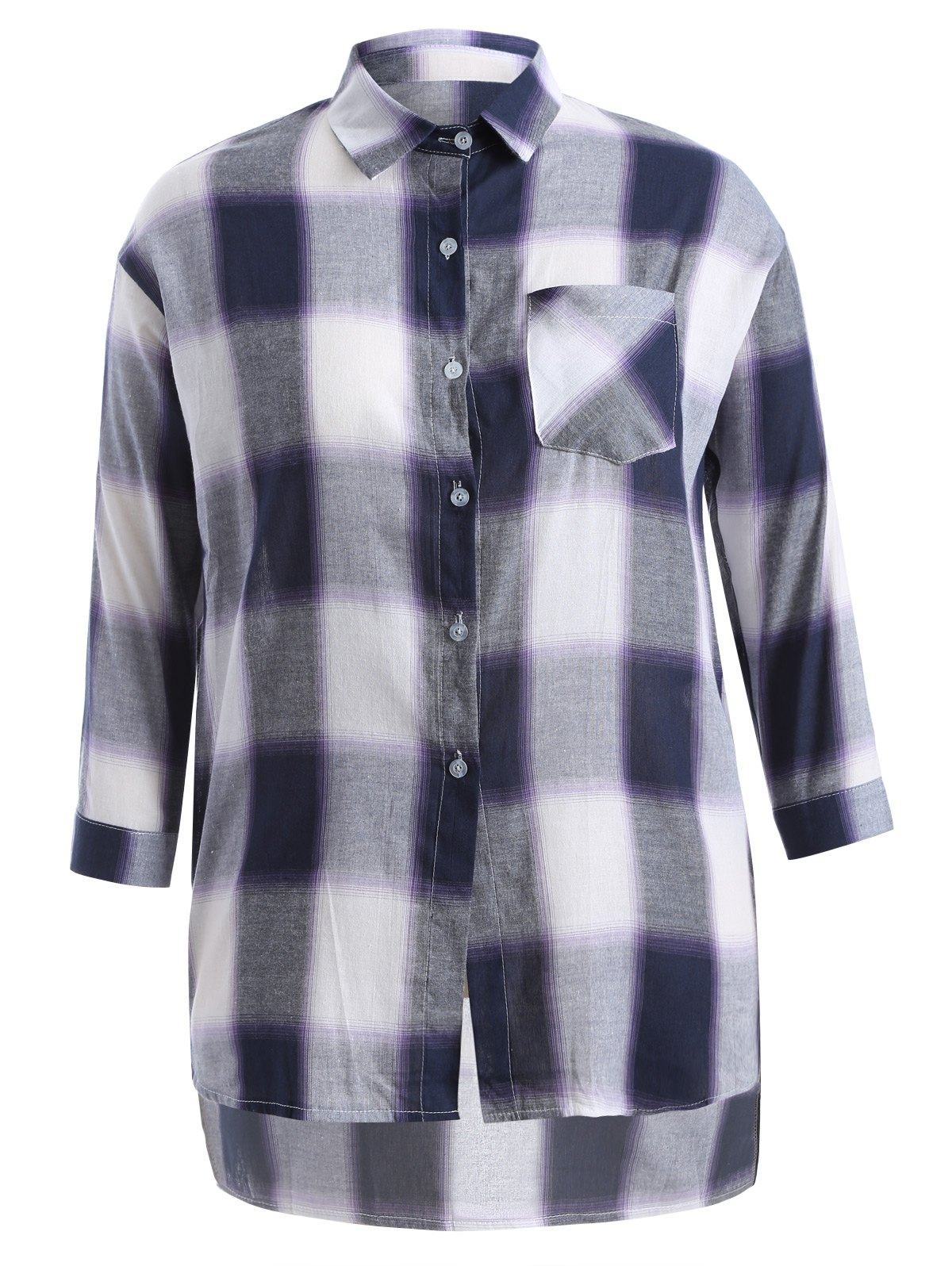 Plus Size Asymmetrical Plaid Shirt - PURPLISH BLUE 4XL