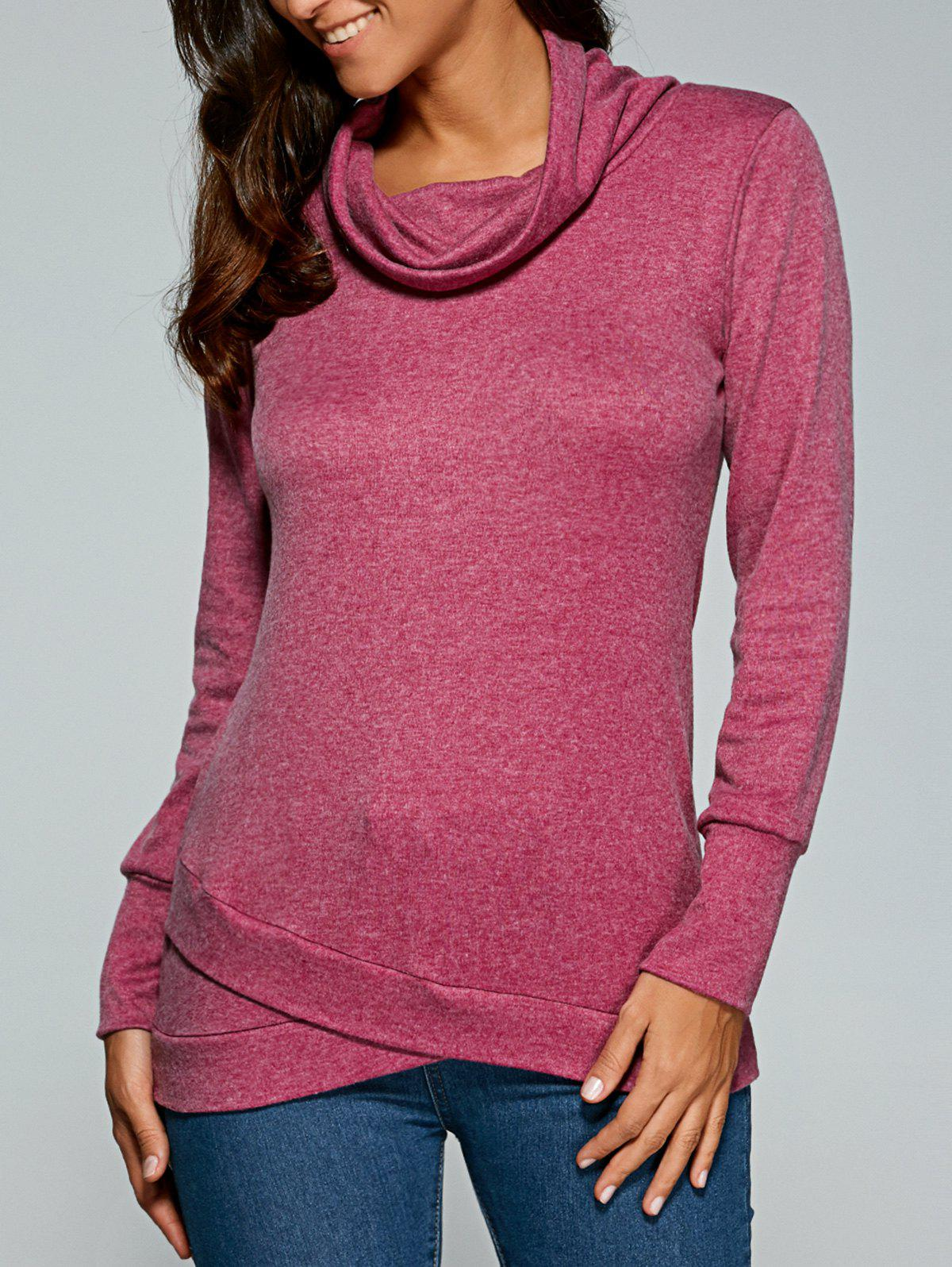 Cowl Neck Pullover Sweatshirt - PURPLISH RED L