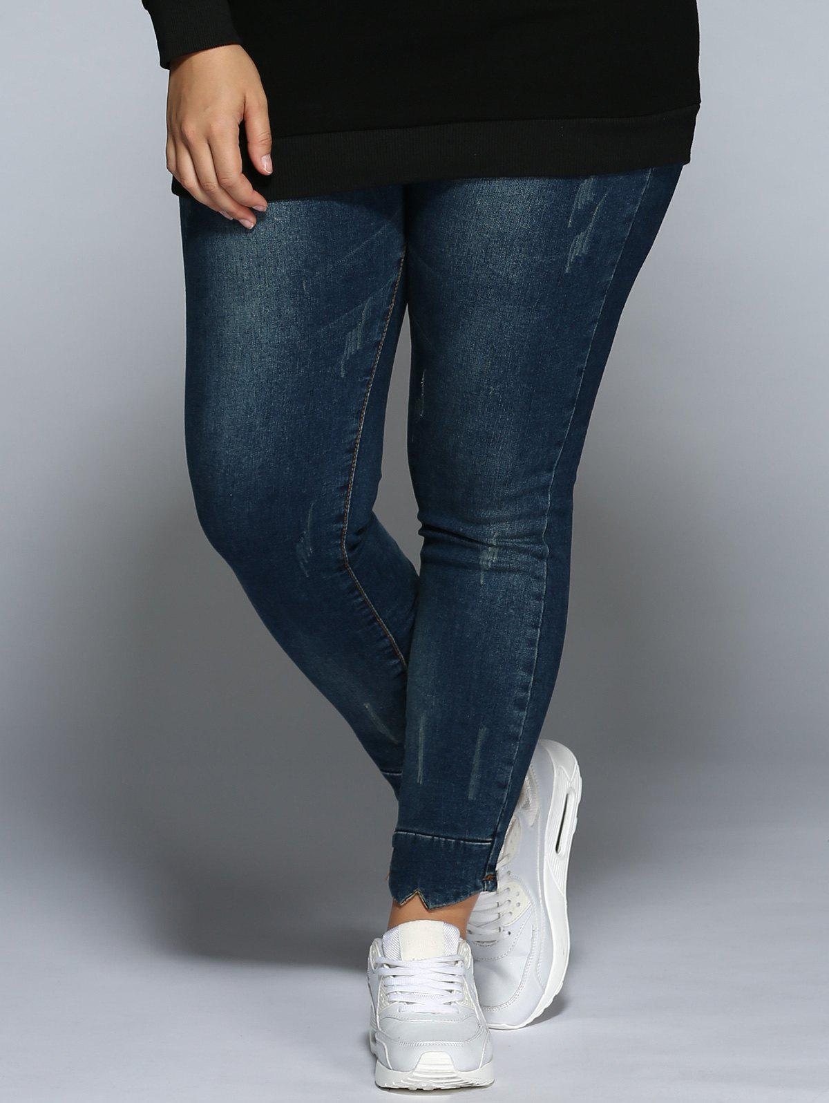 Plus Size Pencil Jeans - DENIM BLUE M