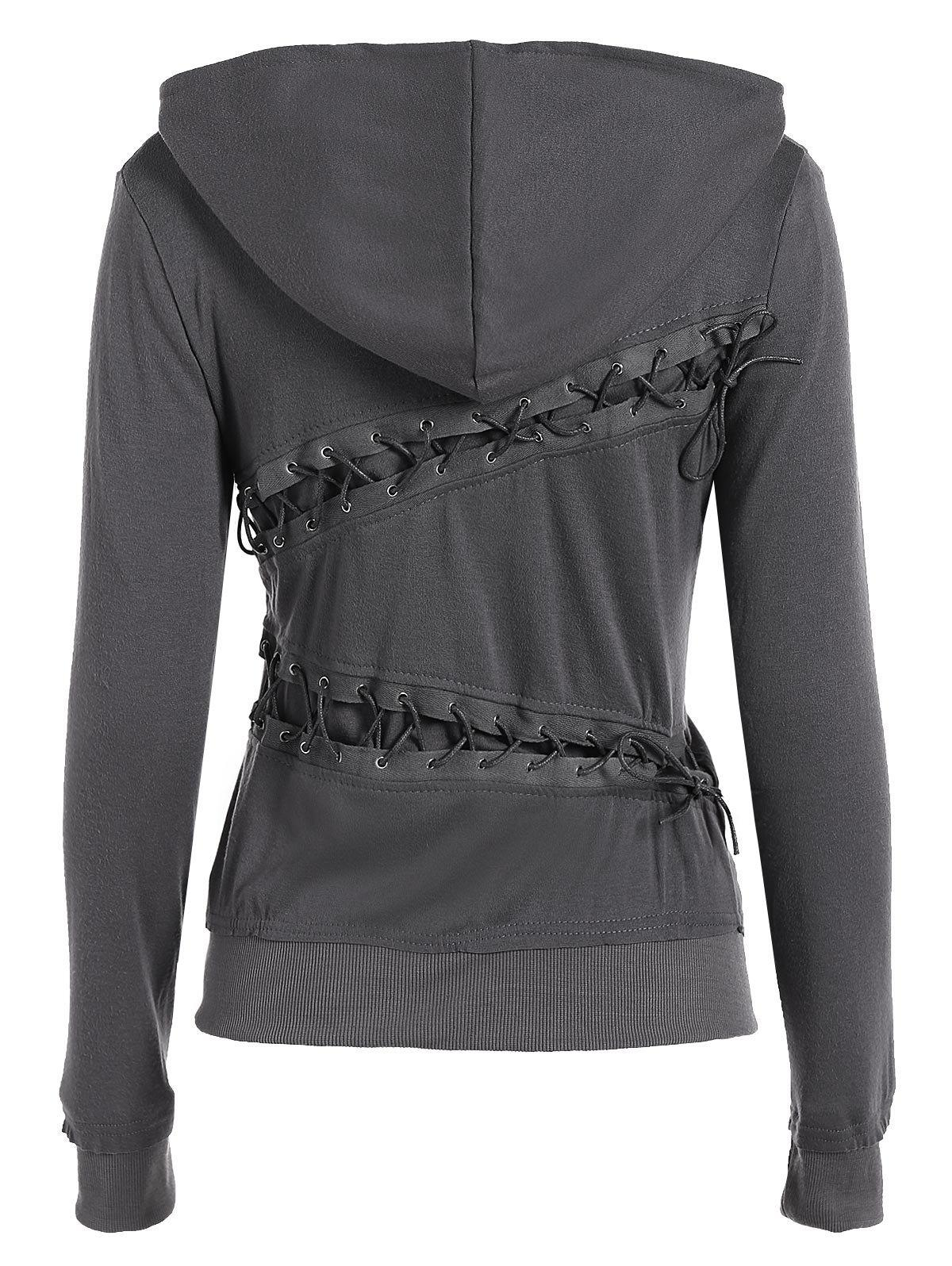 Trendy Hooded Long Sleeve Solid Color Lace-Up Women's Hoodie - GRAY M
