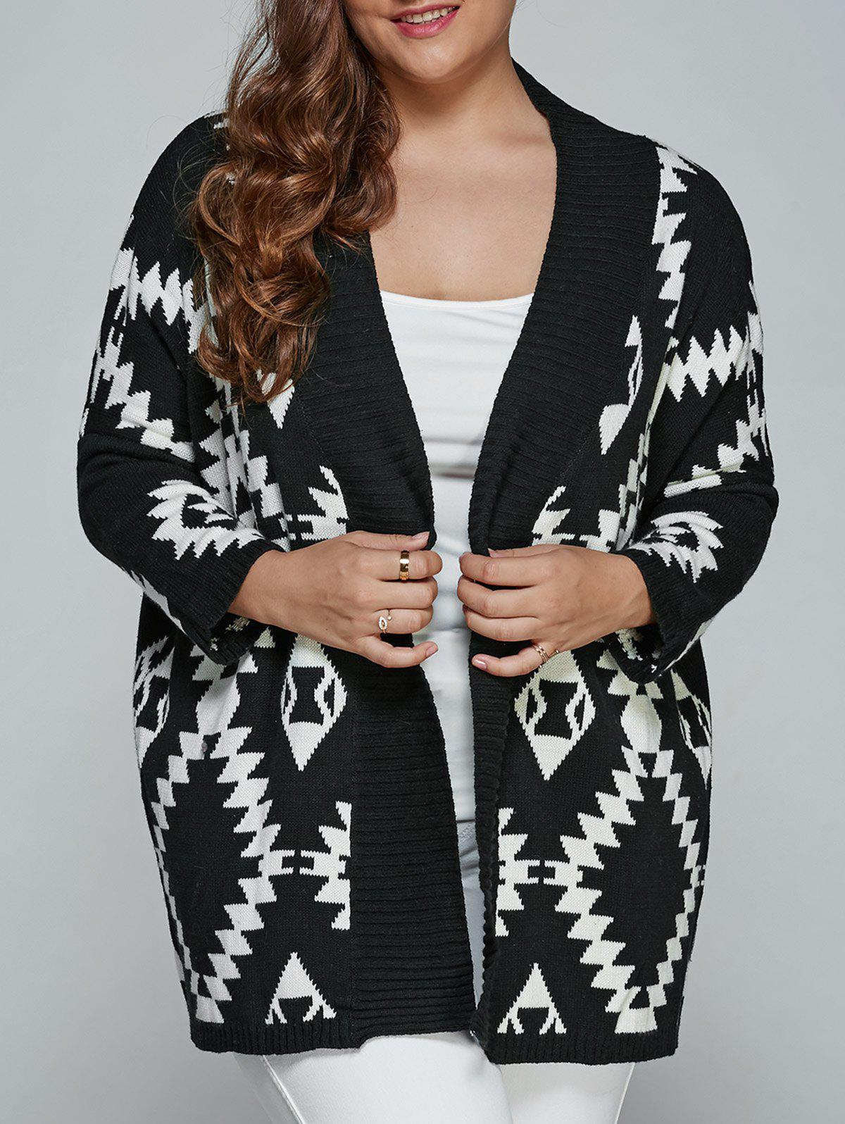 Plus Size Geometric Loose Sweater Kimono Cardigan, BLACK, XL in ...