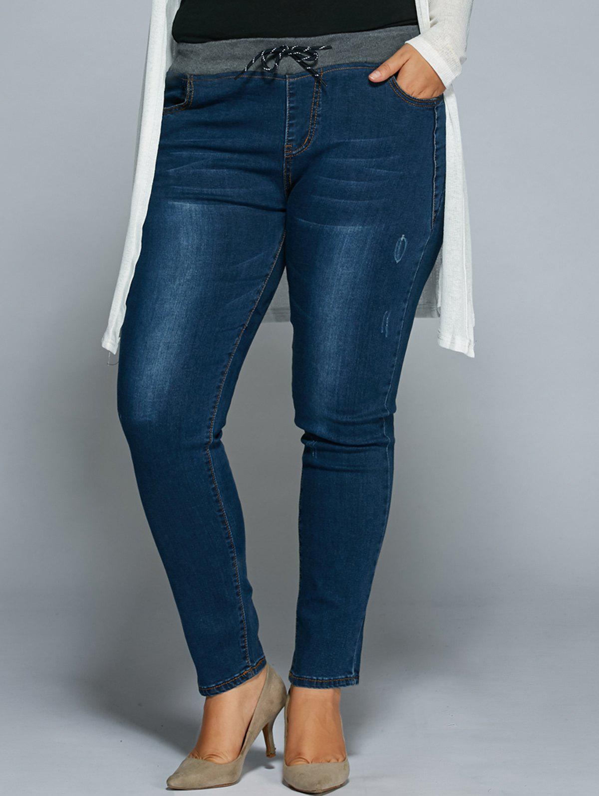 Plus Size Drawstring Bodycon Jeans - DENIM BLUE M