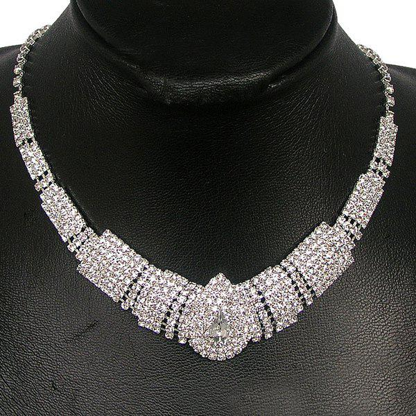 Rhinestone Tiered Teardrop Shape Necklace Set - WHITE
