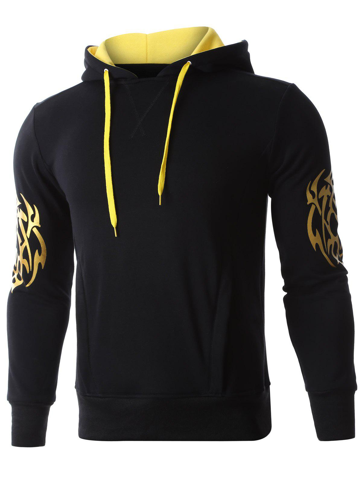Hooded Golden Printed Long Sleeve Hoodie - BLACK S
