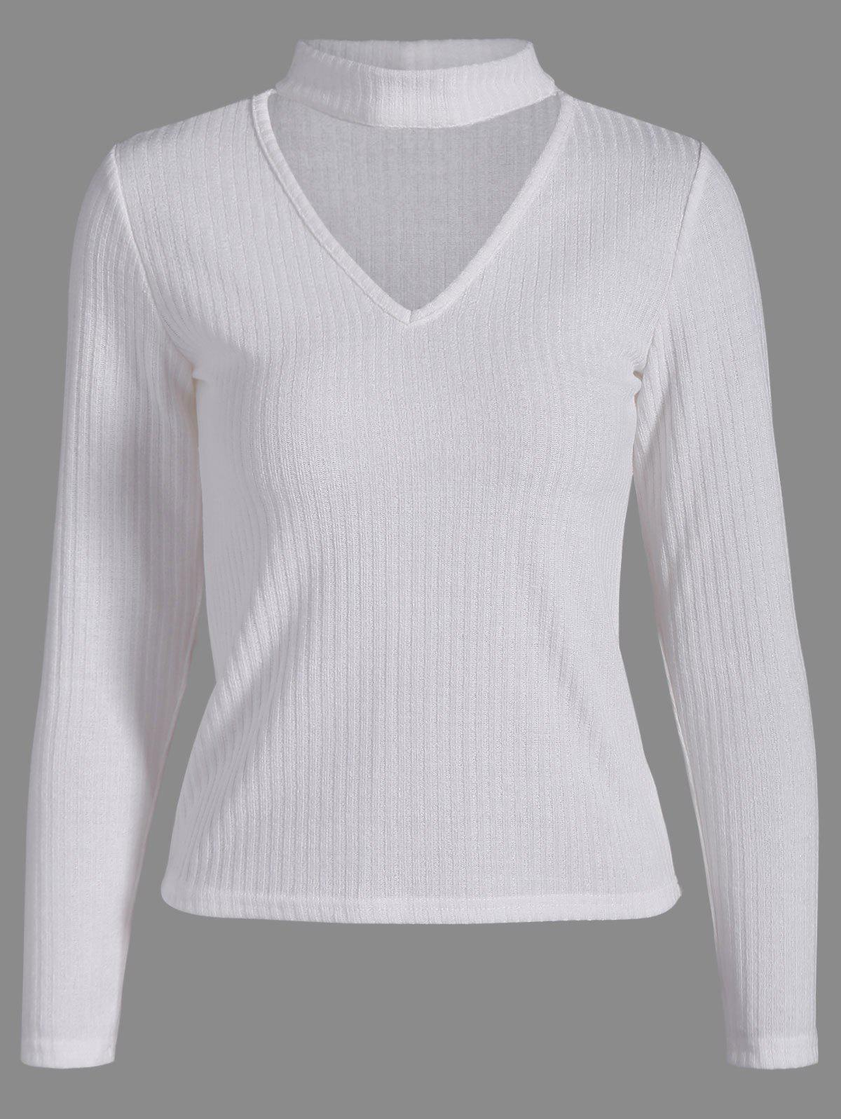 Ribbed Front Cut Out Knitwear - WHITE XL