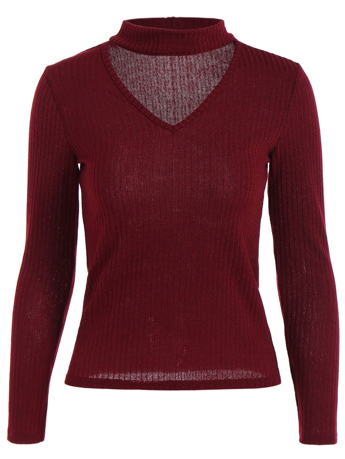 Buy Ribbed Front Cut Knitwear WINE RED