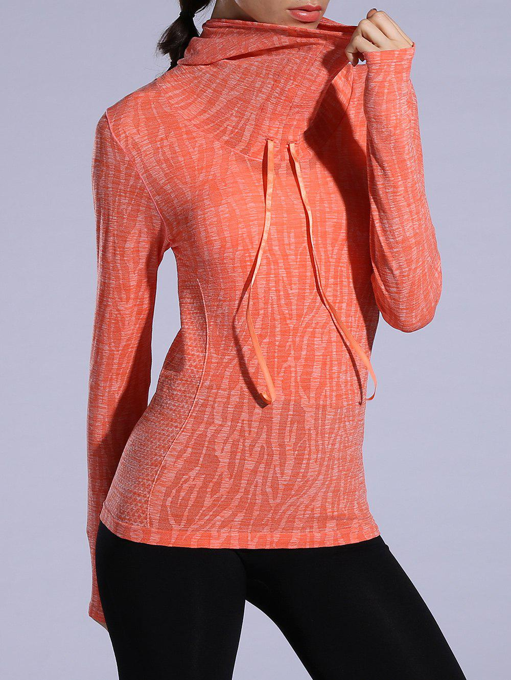 Heathered Dry-Quick Drawstring Hoodie - Tangerine L
