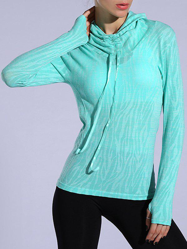 Dry-Quick Heathered Drawstring Hoodie - LIGHT GREEN L