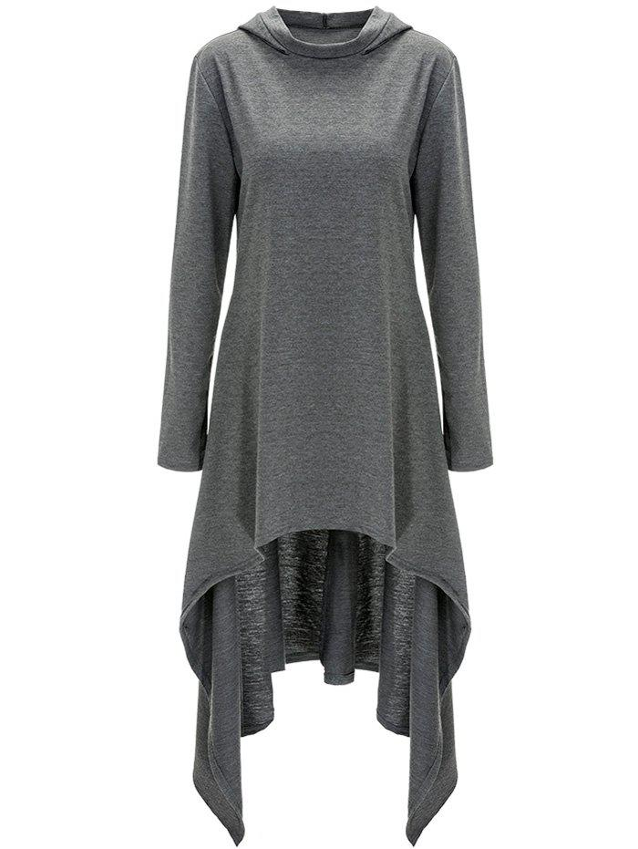 High Low Hooded Dress with Long Sleeves - GRAY 2XL