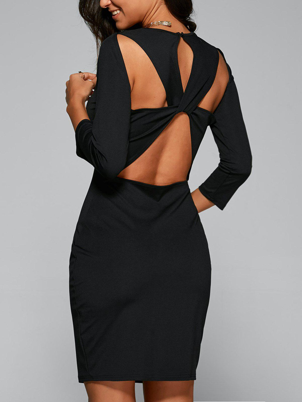 Bandage Cut Out Bodycon Dress with Sleeves crossed bandage cut out cami dress
