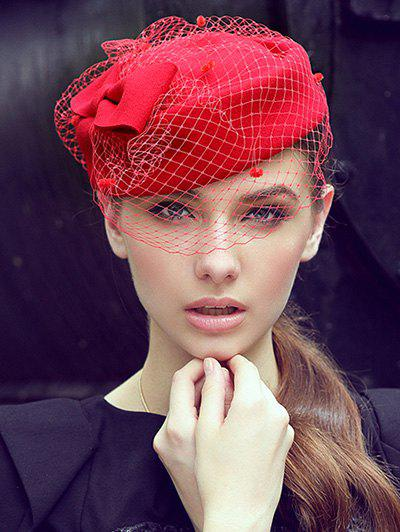 Winter Bowknot Veil Felt Pillbox Hat - RED