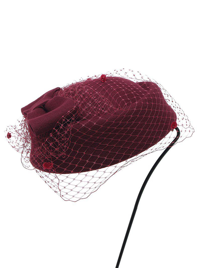 Winter Bowknot Veil Felt Pillbox Hat - CLARET