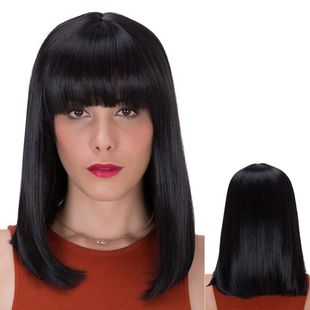 Medium Neat Bang Straight Gorgeous Synthetic WigHair<br><br><br>Color: BLACK