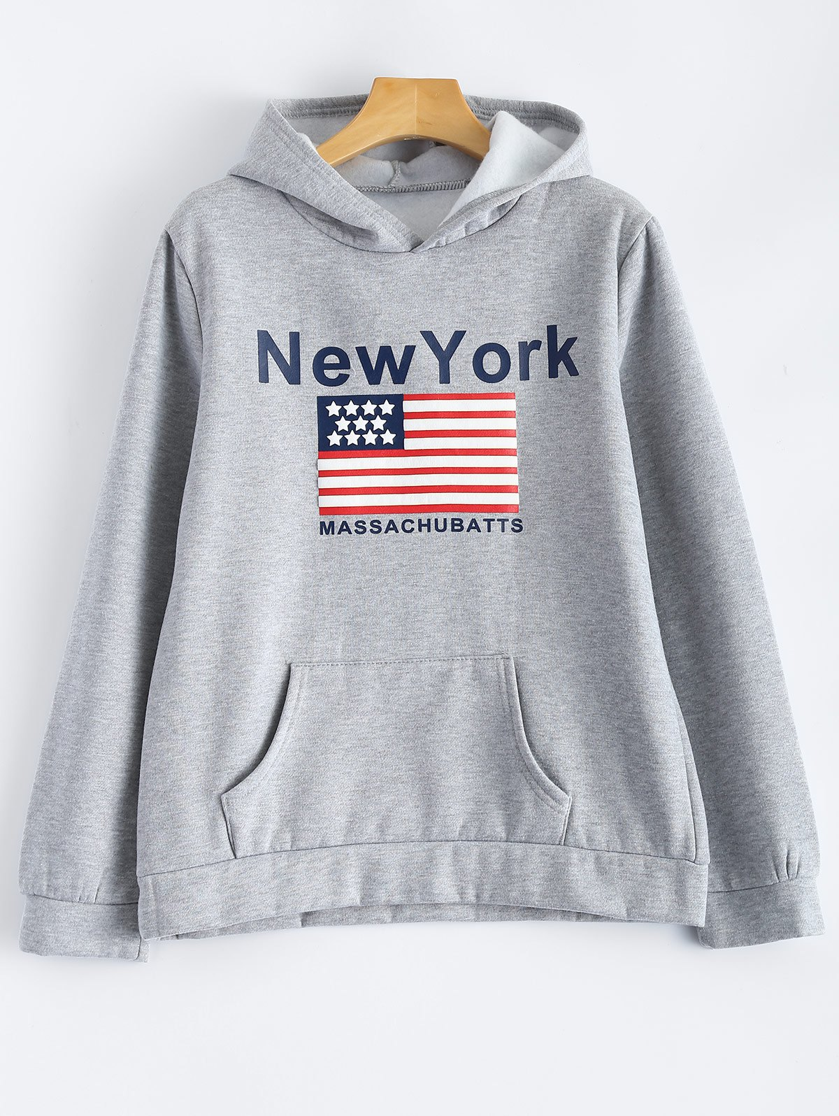 Pocket Fleece New York Letter Flag  Hoodie - GRAY XL