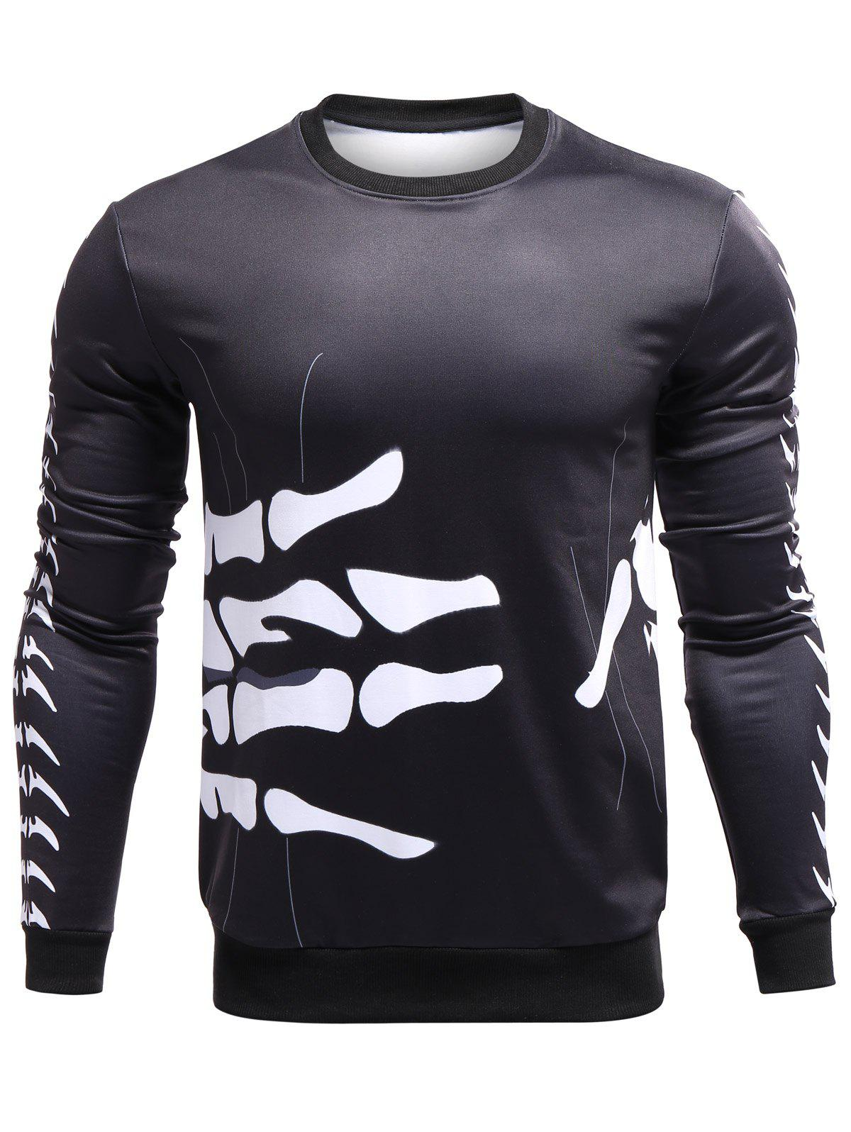 Crew Neck 3D Bones of Hand Surround Print Sweatshirt - BLACK L