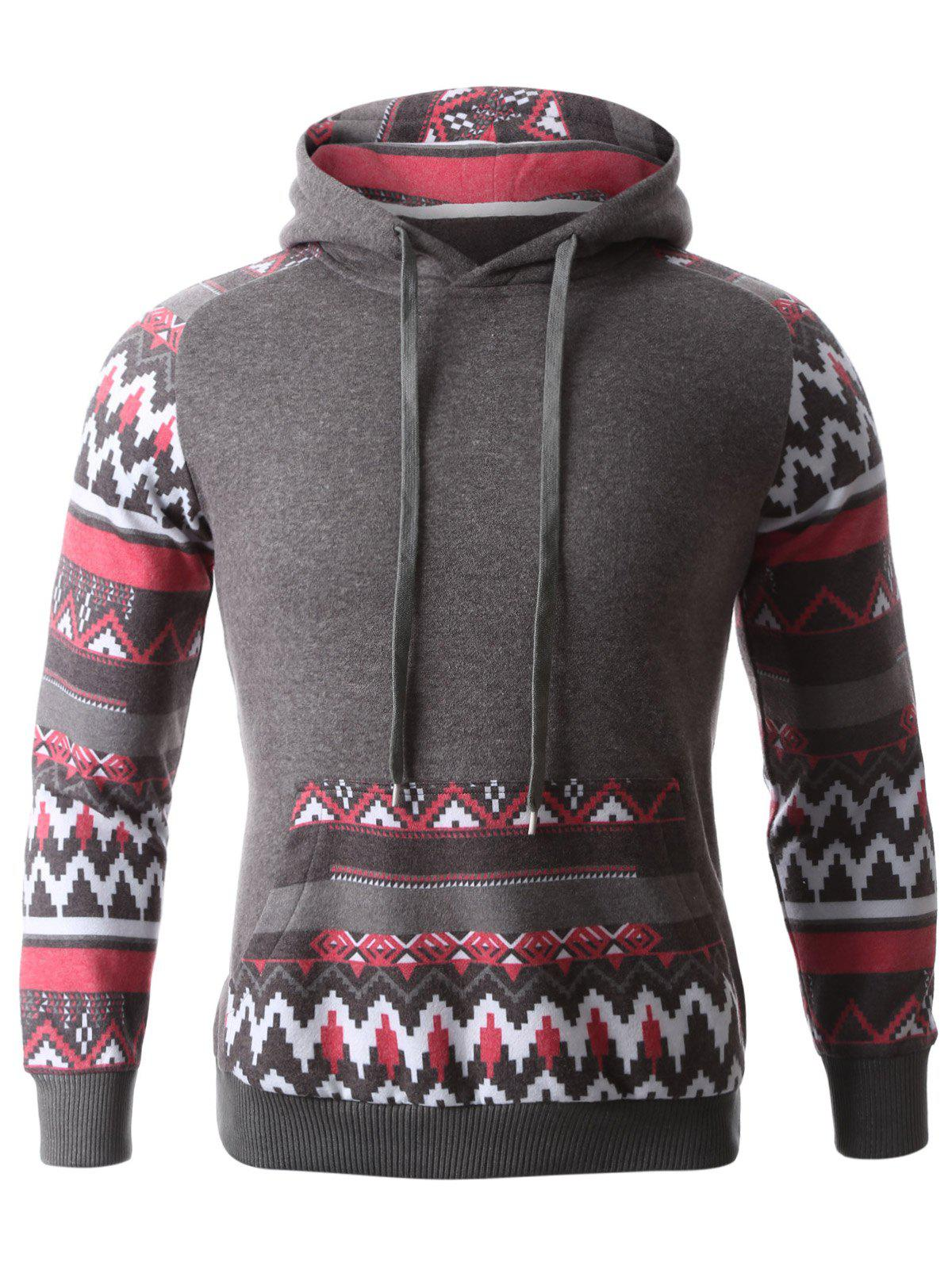 Geometric Print Spliced Hooded Raglan Sleeve Hoodie - DEEP GRAY L