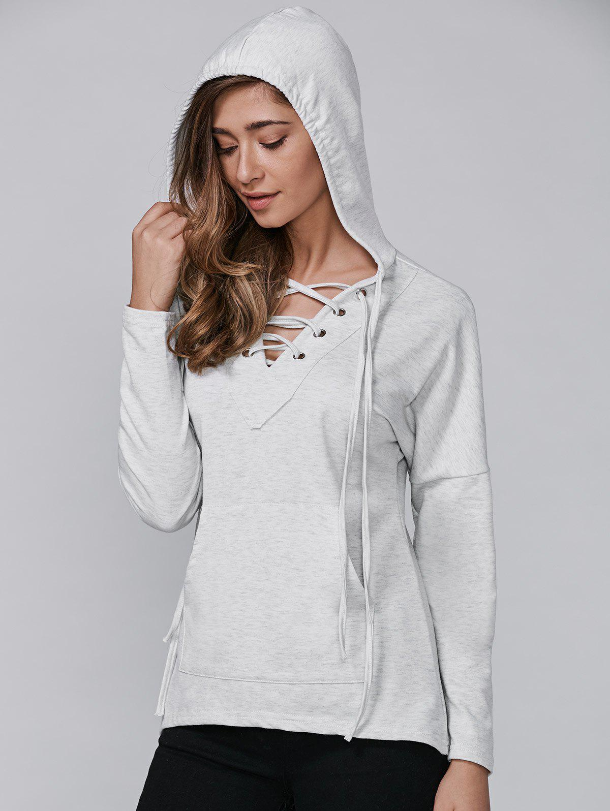 Long Sleeve Hooded Lace-Up Pocket T-Shirt - GRAY L