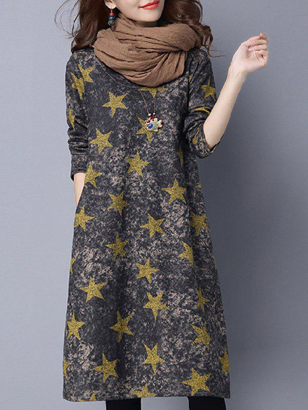 Star Print Loose-Fitting T Shirt Dress
