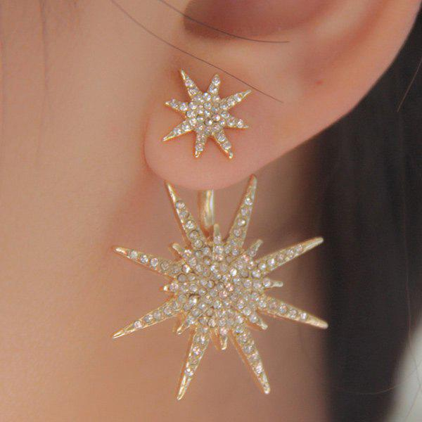 1PC Rhinestoned Double Star Earring - CHAMPAGNE