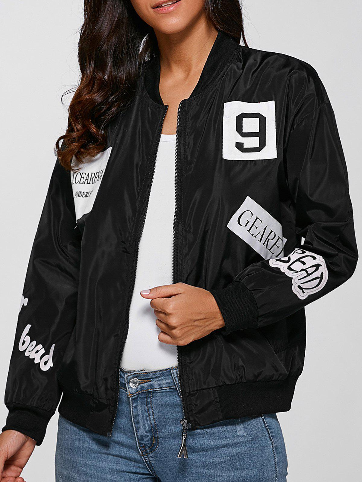 Zip Design Letter Print Bomber Jacket - BLACK M