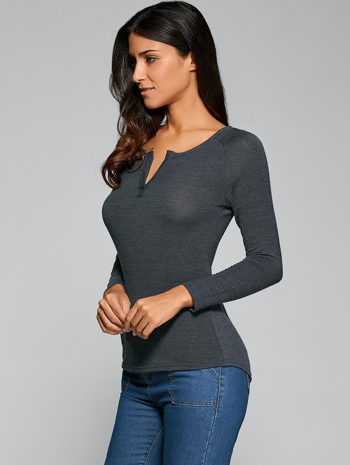 Long Sleeve V Neck Plain T-Shirt - DEEP GRAY M