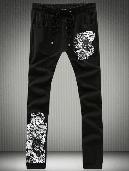 Lace-Up Beam Feet Dragon Calligraphy Print Jogger Pants car dolls charcoal activated carbon simulation dog