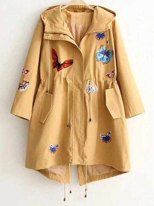 Hooded Embroidered Drawstring Coat - KHAKI L