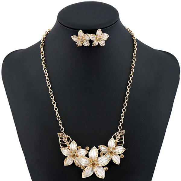 Flower Rhinestone Necklace and Earrings - WHITE