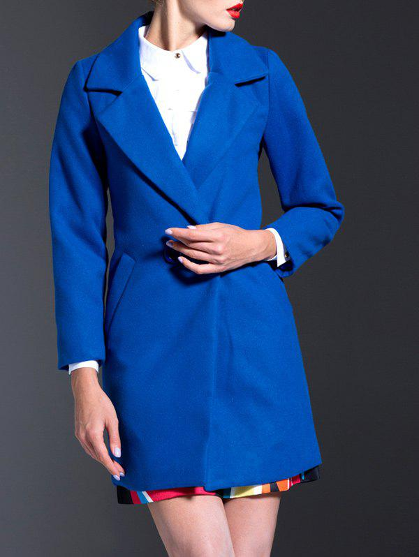 Lapel Walker Wool Blend Coat - BLUE XL