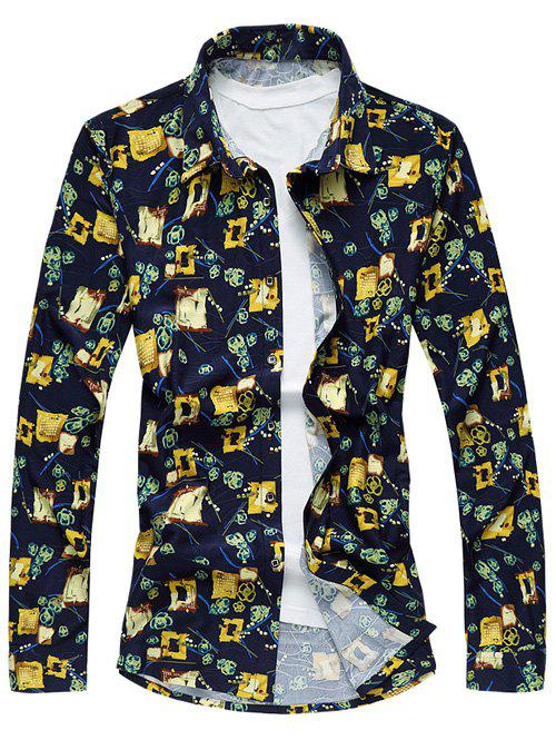 Abstract Floral Print Long Sleeve Plus Size Shirt